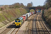 Pictured from the bridge in Westbury Lane in Purley on Thames is 66502 working4M61 ftpm Southampton to Trafford Park