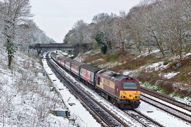 6th Apr 08: The thaw has started as 67020 heads the first of the Footex specials from Cardiff. 67026 was at the tail