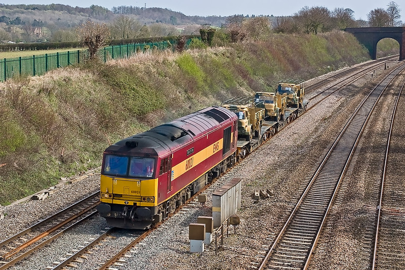 1st Apr 08:  Having worked south overnight 60021 is rostered  for 6V38 the Marchwood to Didcot MoD working. Captured here at Lower Purley