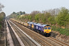 22nd Apr 08:  New GBRf loco 66729 and 66705 are on the point of the Taunton, Fairwater Yard to Peterborough scrap sleepers as 6E31 runs up the Relief through Shottesbrooke