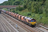 4th Aug 08:  The well loaded Whatley to St Pancras with 66021 on the point leaves Twyford