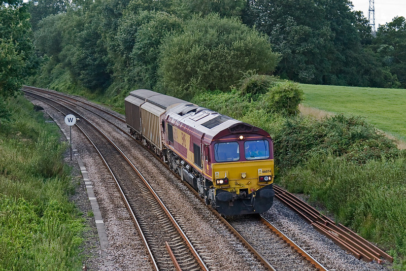 14th Aug 08: With 2 VGA vans in tow 66074 heads an MoD service from Ludgershall to Didcot