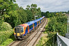 13th Aug 08: High Capacity Desiro 450560 rounds the curve to Addlestone and away from Cox's Lock