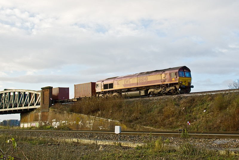 9th Dec 08: 6M44 in the hands of 66040 comes over the flyover at Battledown
