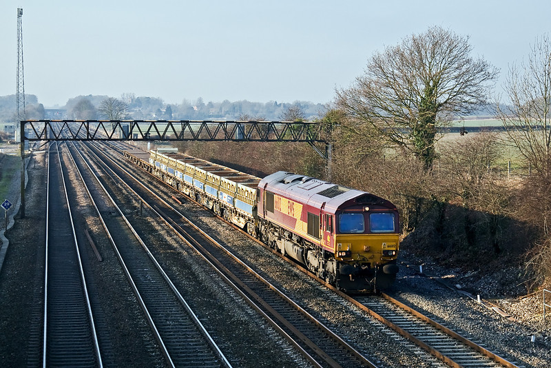 29th Dec 08: Diverted via Reading due to Engineering work at Clapham Junction the morning Eastleigh to Hoo Junction Departmental, running as 6Z41, is captured here on the GWML at Milley Bridge in Waltham St Lawrence.