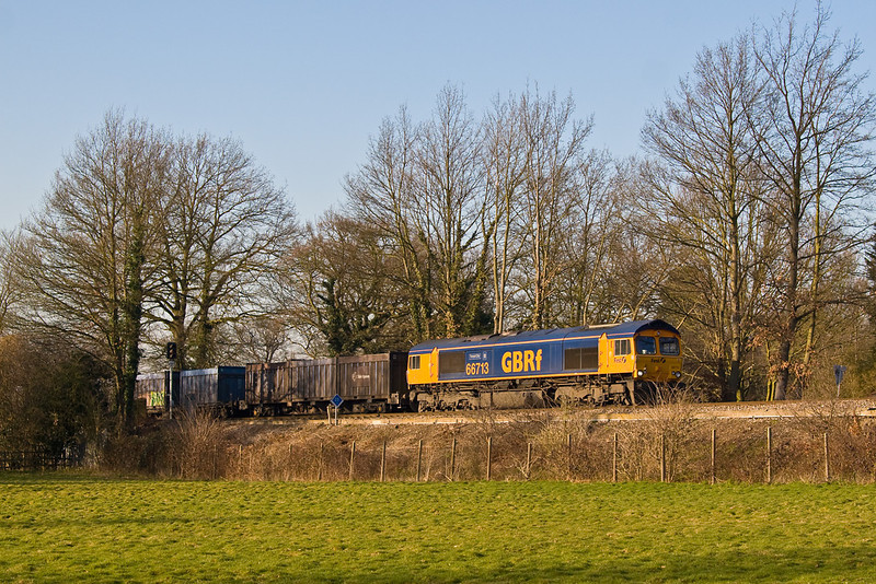 12th Feb 08: 66713 'Forest City' on the Mountfield Gypsum empties at Lyne