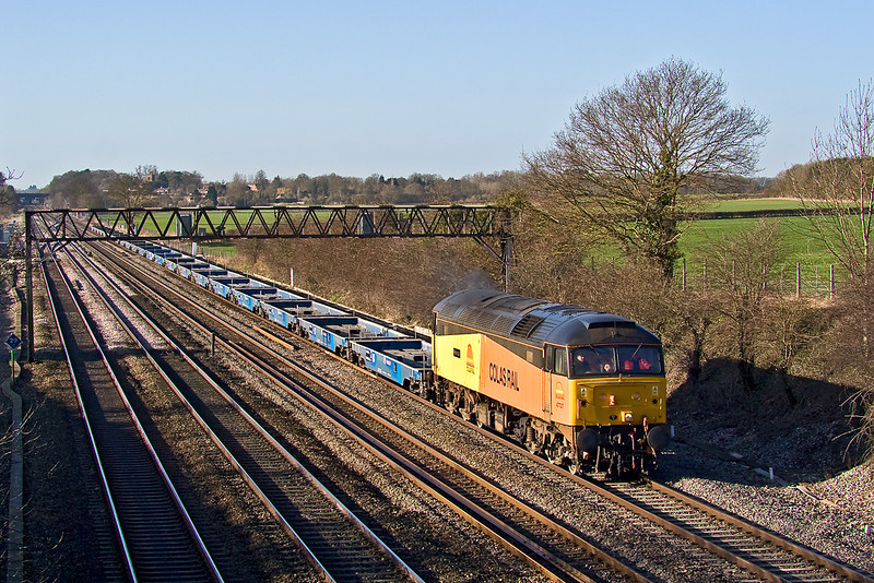 1st Feb 08:  Running from Aberthaw to Dollands Moor as 6Z01 Colas Rail's 47727 'Rebecca' has a load of IXA pocket container wagons