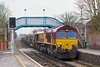28th Feb 08: 66011 on 6M44 Eastleigh to Wembley Enterprise at Chertsey