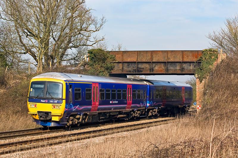 19th Feb 08: The Basingstoke to Reading shuttle runs under the bridge at Silchester