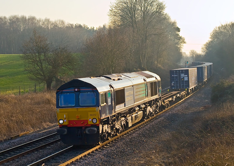 19th Feb 08:  Late afternoon sun highlights a rare visitor in the form of 66412 working north on 4S59 from Southampton to Coatbridge