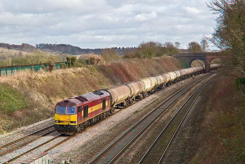 4th Feb 08:  60083 'Mountsorrel' catches a little sun as it works the Theale to Lindsey empty tanks through Lower Purley