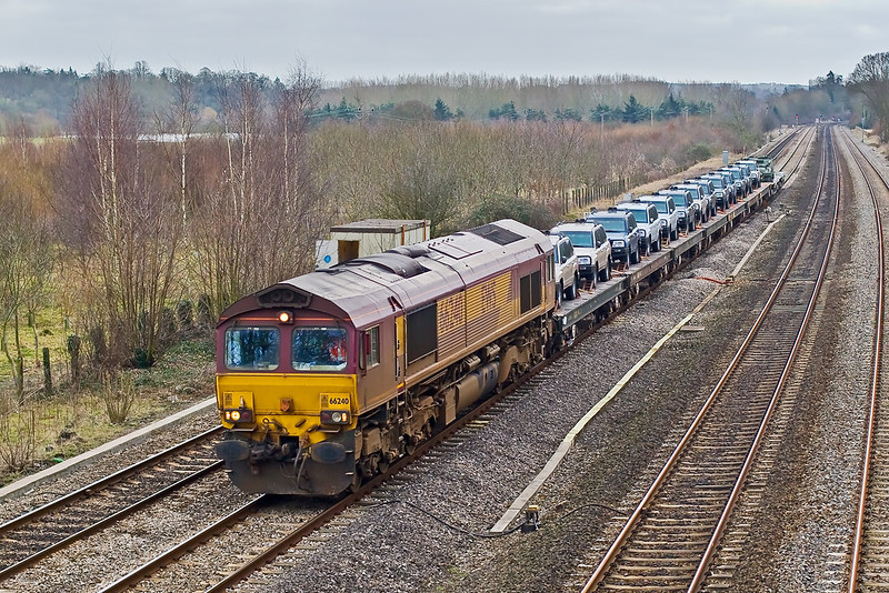 25th Jan 08:  A very dirty 66240 is the day's power for the Marchwood to Didcot MoD stores service