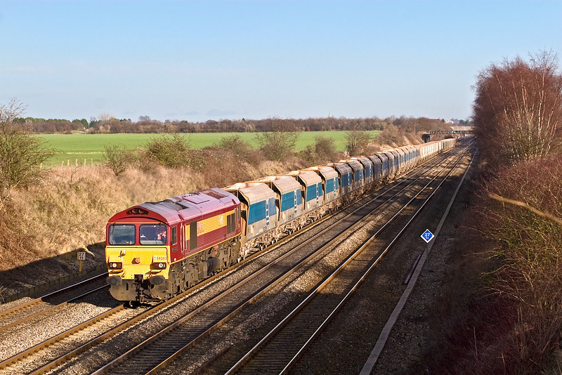 16th Jan 08:  59203 with 7C77 Acton to Merehead Jumbo through Shottesbrooke