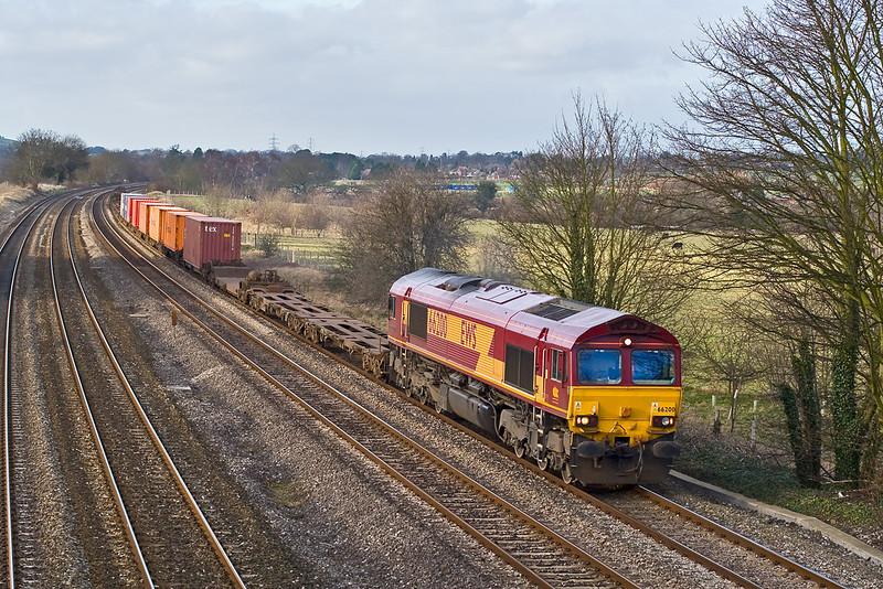 25th Jan 08: 66200 leads a Washwood Heath to Southampton Intermodal through Lower Basildon.