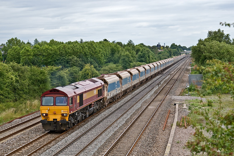 "14th Jul 08:  59203 and ""Charlie 77"" plods West.  The consist is 16 from Acton. 12 Harlow Mill and 17 from Stewarts Lane"