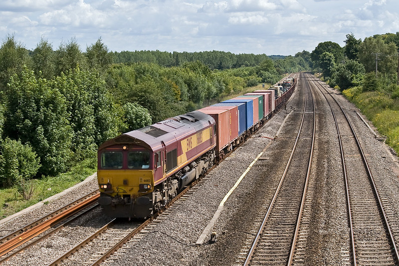4th Jul 08:  A good load on the Marchwood today.  66183 up front.