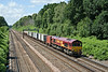 8th Jun 08:  The daily Eastleigh to Wembley Enterprise service with 66046 at the helm on the up slow at Pirbright