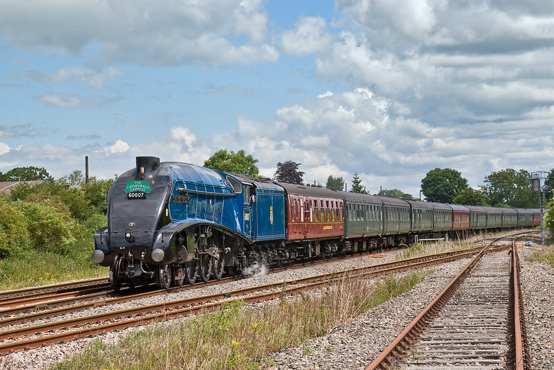 3rd Jul 08:  LNER A4 Pacific 60007 'Sir Nigel Gresley' heads the Cathedrals Express from Victoria to Bristol. Captured here on the Berks & Hants line at Padworth.
