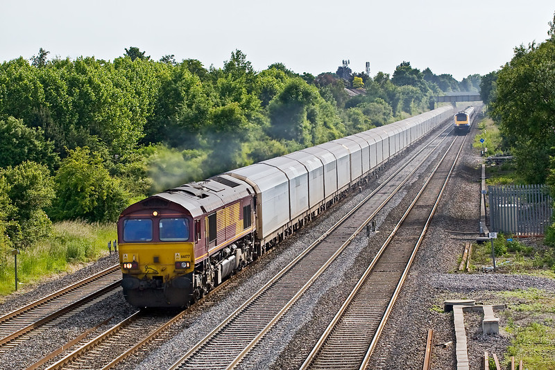 14th Jun 08: The 05.30,4V14 Empty car carriers from Dollands Moor to South Marston led by 66177 passes Breadcroft Lane in Maidenhead