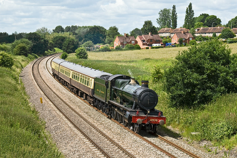23rd Jun 08:  Working home to Tysley after the Cranmore 150 Gala 4936 'Kinlet Hall' leaves Woolhampton and passes Frouds Lane
