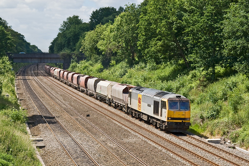 13th Jun 08: 6M20 and 60056 from Whatley to St Pancras on the Relief at Duffield Rd