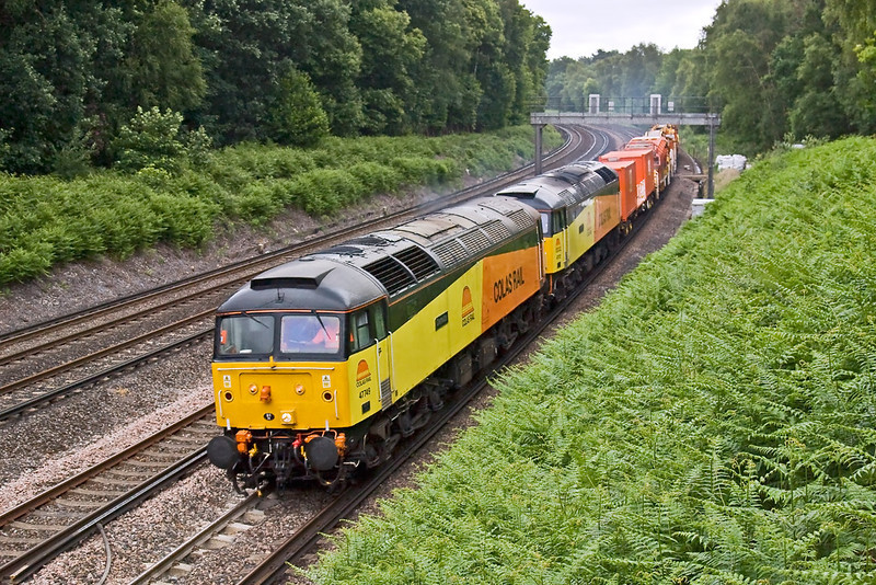 27th Jun 08: Damelza leads Rebecca through Pirbright during a seriously dull and damp spell.   6Z47 the 10.05 from West Ealing to Eastleigh.