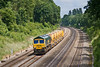 13th Jun 08:  Returning to Stapleford (Nottingham) 66624 works 6Z28 through the Sonning Cutting