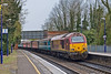 22nd Mar:  In between the sleet showers 67025 rockets through Aldermaston heading for Cardiff with 1Z31 from Paddington