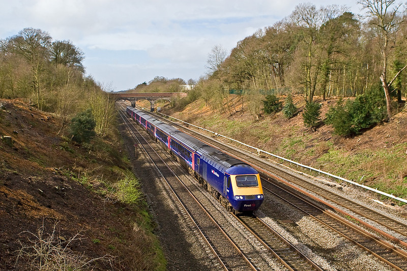 10th Mar 08: After heavy rain a bright patch as 43145 heads though Ruscombe.  The wide angle illustrates the extent of the tree clearance now being done.