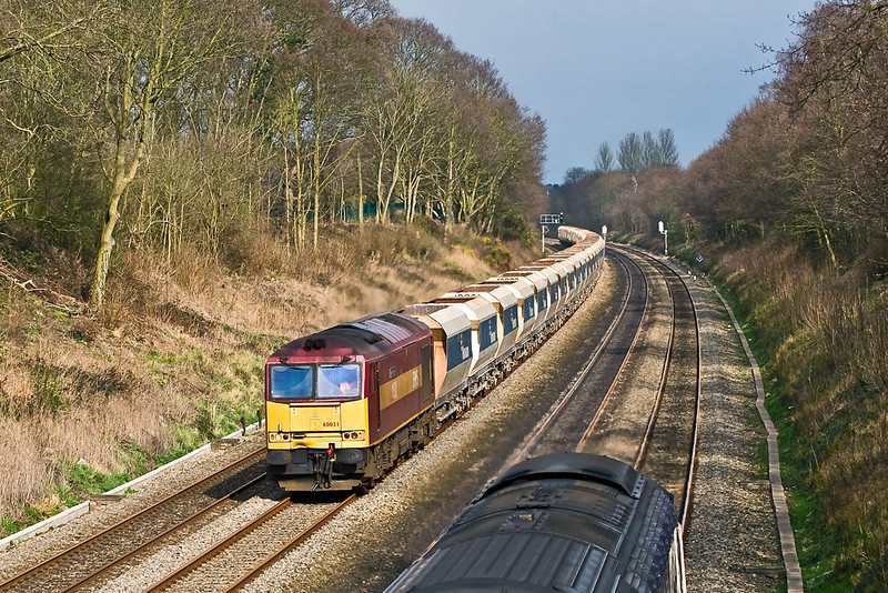 19th Mar 08:  For the 2nd day running 60031 powers the  Hither Green to Whatley empties (6V18).  This time, fortunately, captured in full sun as 5 minutes earlier it was raining.
