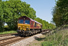 8th May 08:  66093 reshes downhill near Mortimer with 4O53 Intermodal from Hams Hall