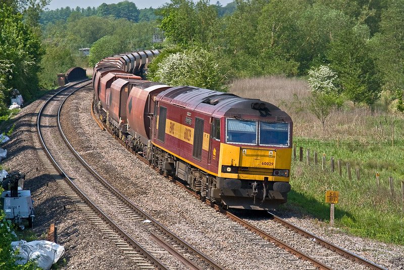13th May 08:  Being looped at Hungerford gave enough time to get a 2nd shot as 60029 nears Kintbury