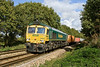 16th Oct 08: 'Up close and personal'  66569  thunders south and over the foot crossing with the Wentloog to Southampton liner