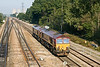 20th Sep 08:  66107 & 66101 trundle slowly towards Didcot away from Moreton Cutting