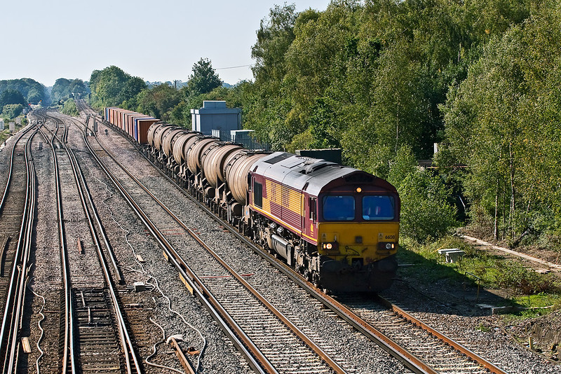 26th Sep 08:  With the Quidhampton tanks on the front  66130 hurries through on the Eastleigh to Wembley Enterprise service