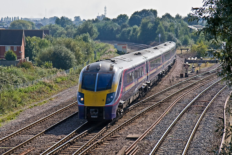 20th Sep 08: Adelante 180102 clatters over  Didcot North Junction making for Worcester