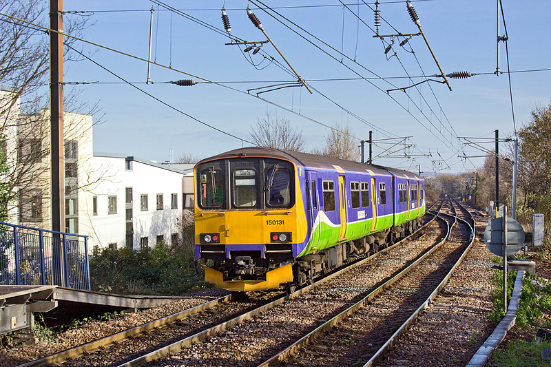 1st Dec 09:  150130 leaves South Tottenham for Barking with 2J43 the 11.25 from Gospel Oak. The line continuing straight ahead leads to Tottenham South Junction.