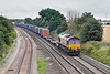 20th Aug 09:  6E69 Southampton to Wakefield Europort in the hands of 66201 runs north through Elford