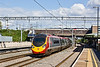 20th Aug 09: 390040 hurtles through Tamworth working 1H32 the 13.00 from Euston to Manchester Piccadilly