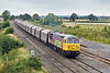 20th Aug 09:  56312 heads south through Elford while working 6Z57, 07.00 Steel Carriers from Boston to Washwood Heath.