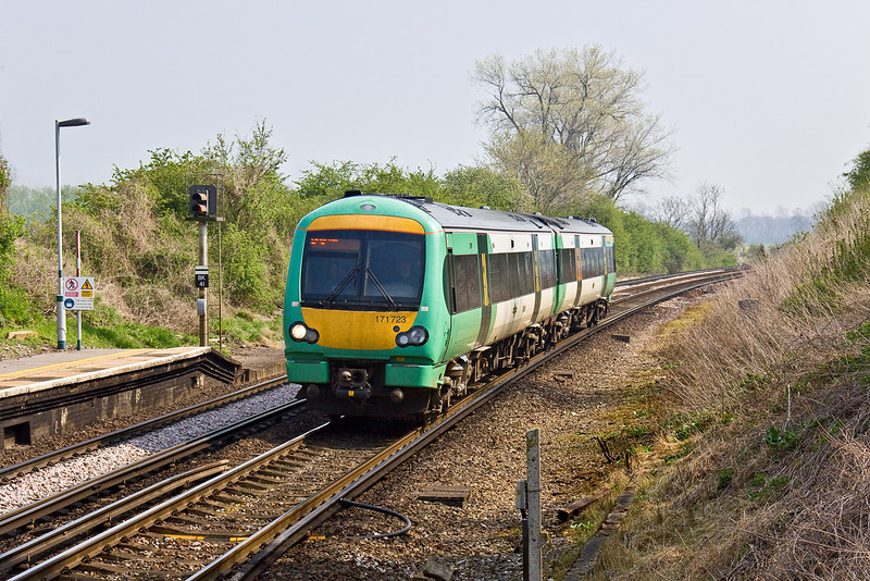 15th Apr 09:  Southern's 171723 at Glynde with 1G22 from Ashford to Brighton