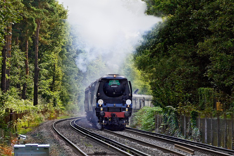 27th Aug 09: Making a perfect exit from Ascot is 34067 Tangmere with the day's Cathex to Stratford upon Avon. The noise was awsome as the locomotive bit into the 1 in 120 up grade.