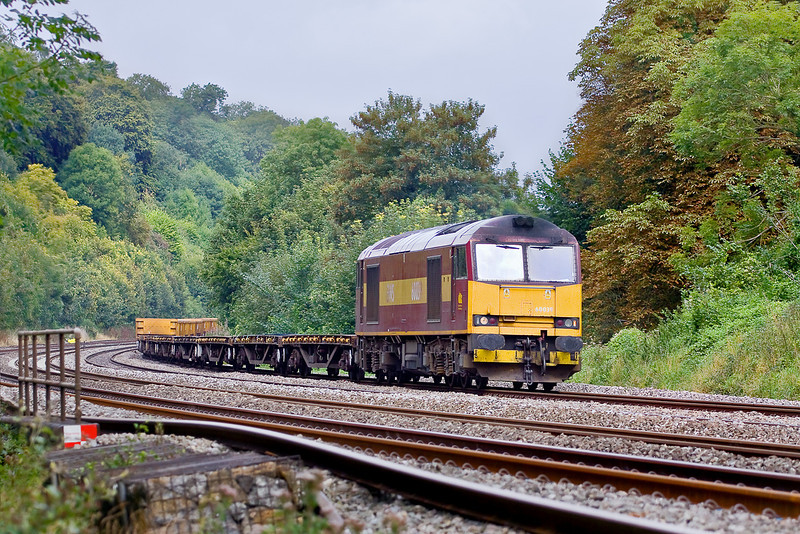 28th Aug 09:  Unusual power for 6O26 the morning departmental service from Hinksey Yard to Eastleigh is 60039. Captured here passing through the cutting west of  Pangbourne.