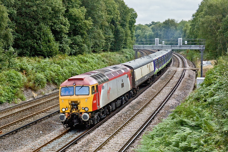 18th Aug 09:  The 3rd pair of 321s numbers 321419 & 420 are being taken for storage at Eastleigh now that the lease has expired.  57311 works 5O21 from Bletchley through Pirbright.  Hopefully I shall capture the last pair in the sun !!