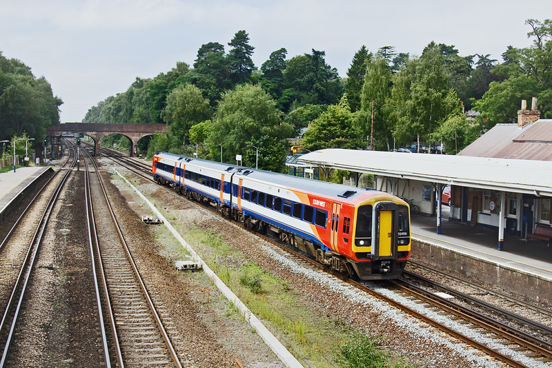 11th Aug 09:  South West Trains 159106 rockets through Winchfield with 1L38 the 11.45 from Salisbury to Waterloo
