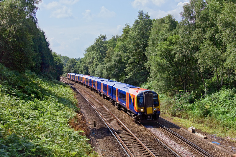 8th Aug 09:  Dropping down into Worplesdon is 450123 on it's way with the 10.24 from Portsmouth Harbour to Waterloo