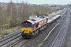 8th Dec 09:  The afternoon Eastleigh to Hinksey departmental with 66056 at the helm has a load of only 3 flats. Seen here passing through Lower Basildon