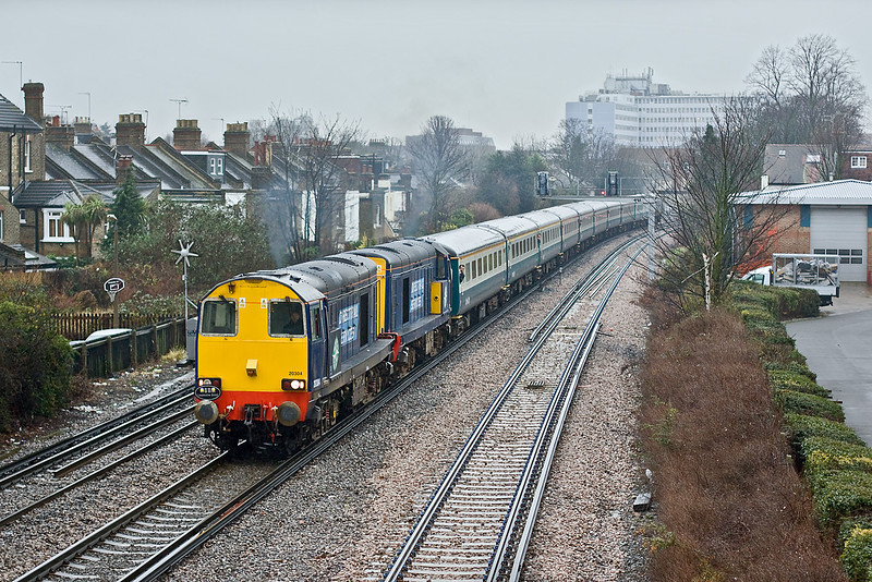 30th Dec 09:  On a very dull day with persistant rain 1Z40 headed by 20304 & 20301 get away from  a signal check at St Margarets. The tour was from Barrow Hill to Hastings and return.  47712 brings up the rear.