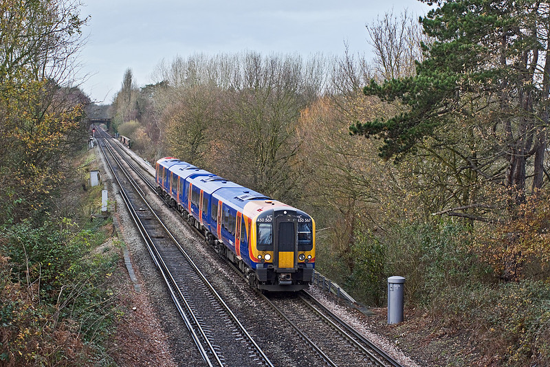 2nd Dec 09:  450567 is opperating 2S29 the  11.22 Waterloo to Weybridge via the Hounslow Loop, Captured as it runs away from Virginia Water and through Lyne
