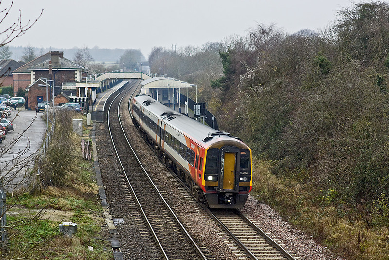 16th Dec 09:  Departing from Whitchurch is 159022 on 1L34 the 10.45 from Salisbury to Waterloo